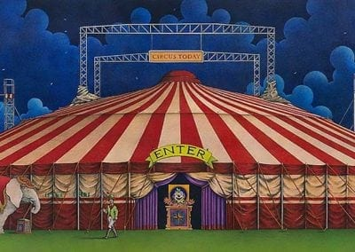 Circus Today - color pencil on wood drawing