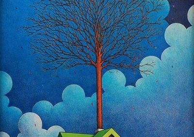 Winter House - color pencil on wood drawing
